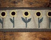 primitive burlap penny flower rug