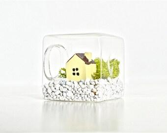 Mini House Glass Cube Terrarium, Miniature Home Terrarium, Miniature House Decor, Mini Home Decor, Mini House Decor Little House Terrarium