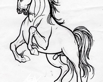 unicorn in a state of excitement, adult unicorn, coloring book page