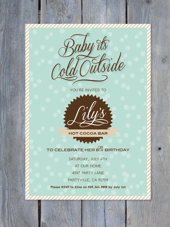 Hot Cocoa Bar Invitation For Birthday Party By