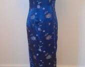 Vintage Blue Embroidered Madarin Collar Cheongsam Asian Dress
