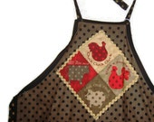 Polka Dot Farm Apron with ties, 4 pockets and rick-rack   featuring farm animals - hen, rooster, pig and cow