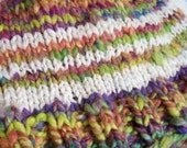 Revenge of the 90s - neon striped handspun, hand knit wool hat, adult one size