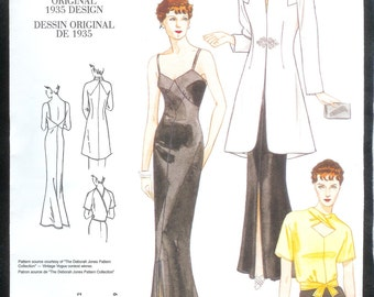 Vogue 2859 Vintage Original Reproduction Of a 1935 Evening Gown, Opera Jacket, And Blouse, Sizes 12, 14, 16, UNCUT