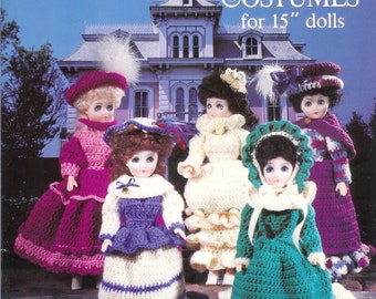 Vintage 1991 American School of Needlework #1099 Crocheted Victorian Doll Costumes For 15 Inch Doll