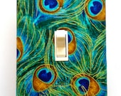 Peacock Feather Light Switch Plate Cover / Standard / Plume Feathers/ Single Toggle