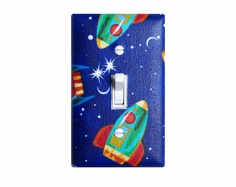 Rocket Ship Light Switch Plate Cover / Standard Single / Space Ship / Boys Room / Children Kids Room / Royal Blue