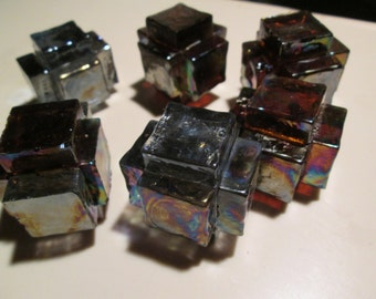 INCA TOYS  Mayan building blocks mixed color glass PAPERWEIGHT hand made with Spanish iridescent glass original