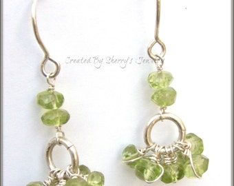 Handmade Sterling silver and Genuine Peridot Earrings
