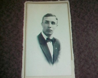Vintage Photograph of an Edwardian Man in a Bow Tie 1910s 9.25 x 4.25