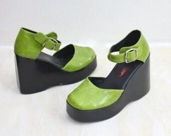 Vintage 80's Lime Green Chunky Platform Heels Sz 5M