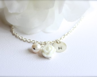 Sterling Silver Real Pearl, Personalized Hand Stamped Initial White Flower Charm Necklace, Flower Girl Gift - FREE Gift Packaging
