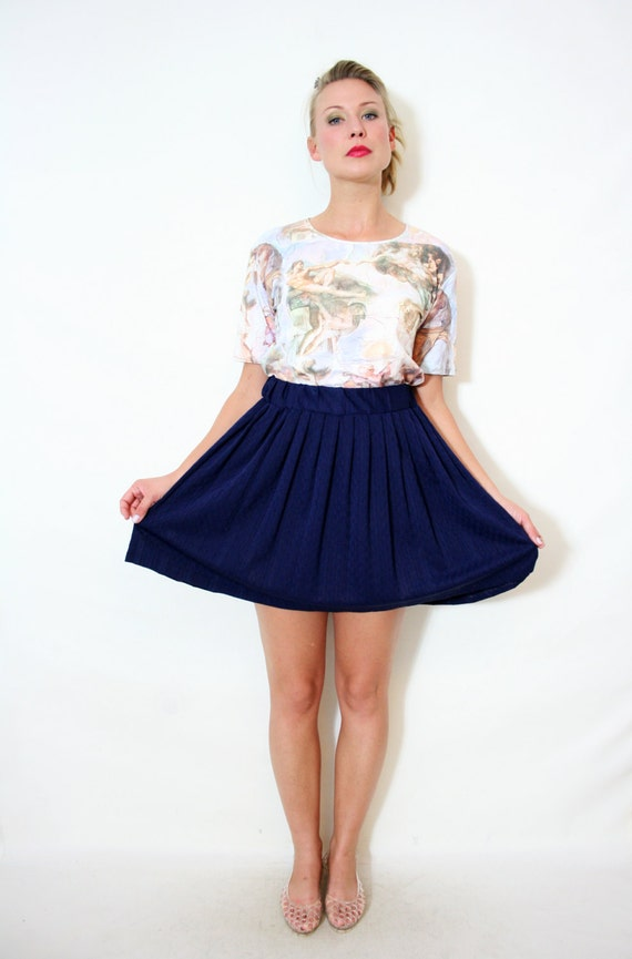 Navy Blue Pleated High Waist Mini Skirt