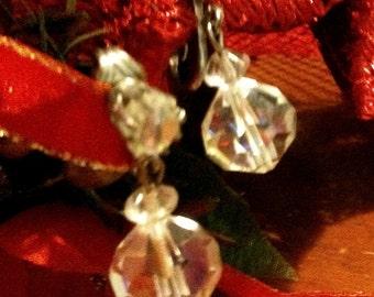 Pair of Vintage Crystal  Drop Earrings Clip  Ons AB
