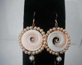 Dangle Earrings with shells and colored pearls