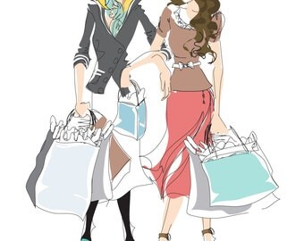 Fashion Illustration, Shopping Day, Art Print