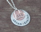 Personalized Family Necklace - Hand Stamped Layered Mixed Metal Mothers Jewelry