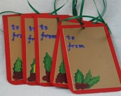 Pack of Five Hand Painted Christmas Gift Tags - Holly
