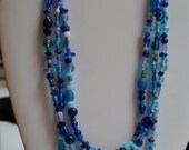 Three Strand Blue Burst Necklace Set with Matching Bracelet and Earrings