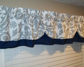 Valance Window Curtain Swagged Swag Custom made Bathroom, Kitchen Designer Twill Fabric Suzani Damask Navy Blue Gray Storm  White