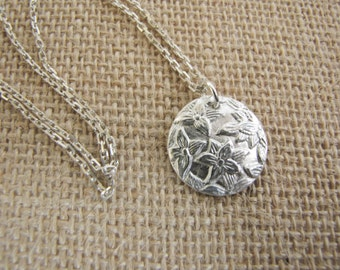 Gardenia Silver Necklace , Pure silver Floral pendant , Flower pendant , Fine Silver .999 Silver , PMC jewelry , PMC necklace , metal clay