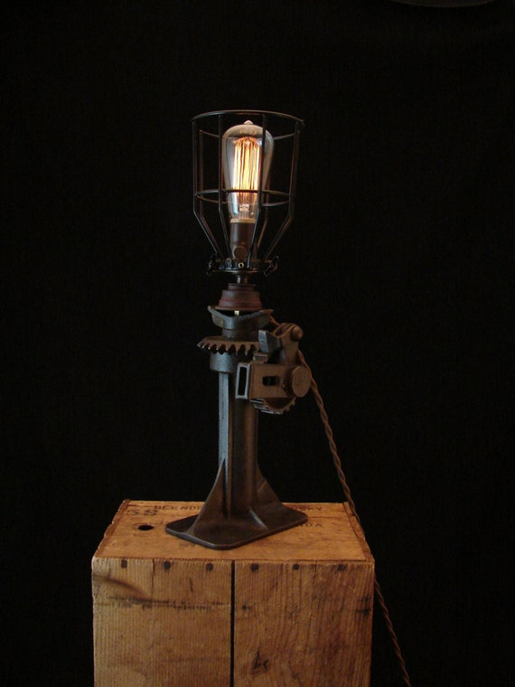 Table lamp upcycled vintage car jack for Cars 2 table lamp