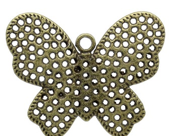 SALE 3 Bronze Butterfly Charms - 40x32mm - Ships IMMEDIATELY from California - BC640