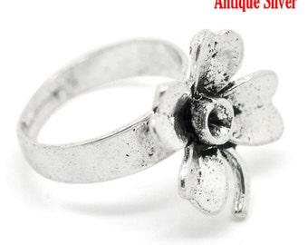 3 Silver Flower Rings - Antique Silver - Adjustable - Rhinestone Settings - 18.3mm - Ships IMMEDIATELY from California - A284