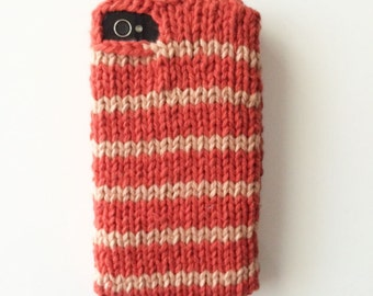 Vintage red stripe knit sweater phone case for iPhone