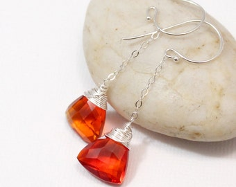 Red Orange Quartz Earrings, Sterling Silver Fire Opal Quartz Earrings, Wire Wrapped Gemstone Jewelry