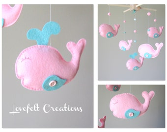 Baby Crib Mobile - Custom Baby Mobile - Whale Mobile - Zoology Whale - You can pick your colors :)