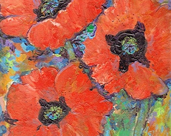 Poppy Brilliance, Gift, Birthday, Office - READY to HANG - Original Fine Art Acrylic  Painting by ebsq Artist Ricky Martin  FREE Shipping