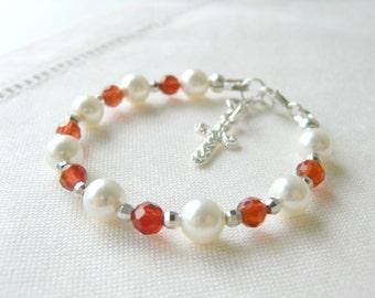 Baby Christening Gift Baby Bracelet for Baptism or Communion Flower Girls Bracelet Baby Shower Gift Pearl Bracelet Red Agate Bracelet