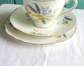 Grey and Yellow floral design retro tea cup saucer and cake plate in a modern style - autumn colours - etsy uk seller - English china