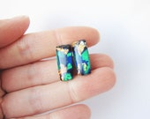 Black, gold, emerald  rectangular stud earrings. Simple posts. Geometric studs. Everyday post earrings. Christmas trends polymer clay
