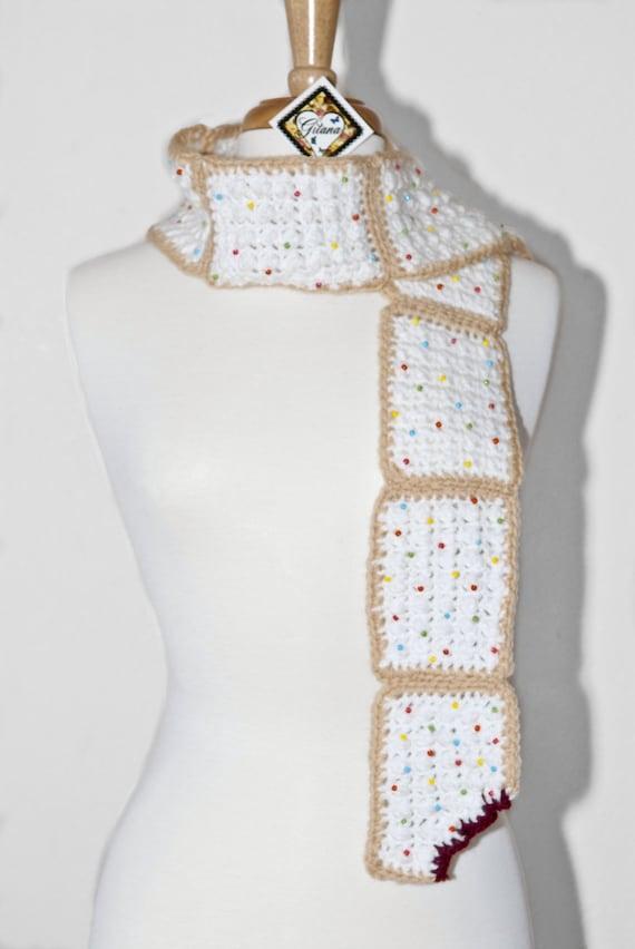 Pop Tart Crochet Scarf -Crochet Scarf- Women Scarf- Food Scarf- Kawaii- Unique Scarf