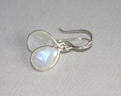 Moonstone Earrings,Bezel Sterling Silver, Drop Earrings, Bridal,Wedding Earrings
