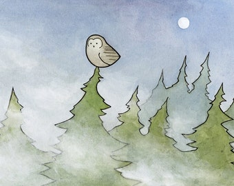 Owl in Fog and Pines illustration print 5x7