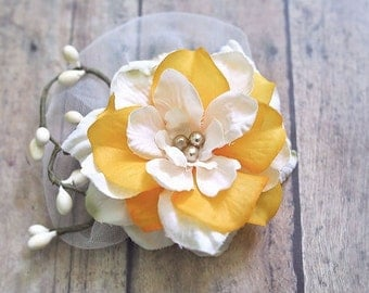 Rustic Wedding Hair Accessories Rustic Bridal Flower Hair Clip Golden Yellow Hairpiece Small Flower Hair Clip Ivory Cream Orange Pearls