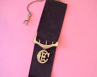 """Handsome Edwardian Era Grosgrain Ribbon Watch Chain with """"CE"""" Gold Filled Fob"""