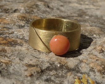 Hand made adjustable brass ring with vintage coral button, designer jewelry