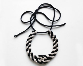 S A L E - bicolor knot necklace - handmade in jersey fabric