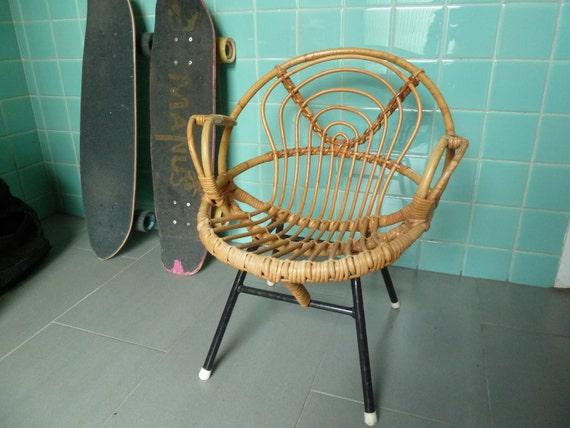 Vtg Mid Century Kids Rattan Bamboo Chair Rohe Noordwolde