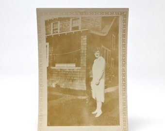Vintage Photograph 1920s Girl Yard House Craftsman Style