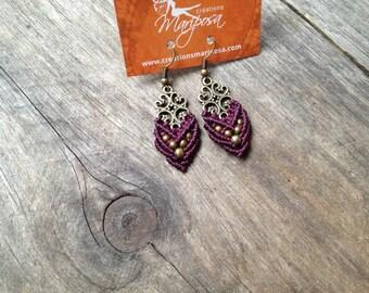 Small Macrame earrings victorian boho jewelry antique brass tone bohemian women jewelry by Creations mariposa