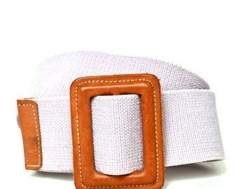 Vintage 80s Lilac Canvas Woven Brown Leather Belt S Vtg Purple Lavendar Wide Waist Belt Small