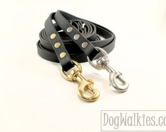 """Jet Black Biothane Dog Leash - 5/8"""" (16mm) Wide - Choice of: Stainless Steel or Brass Hardware and Length 4ft, 5ft, 6ft (1.2m,1.5m,1.8m)"""