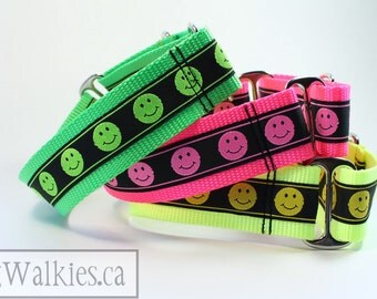 "SALE Dog Gone Happy Dog Collar // 1.5"" (38mm) Wide // Hot Pink, Neon Yellow or Neon Apple Green // Wide Martingale or Quick Side Release"
