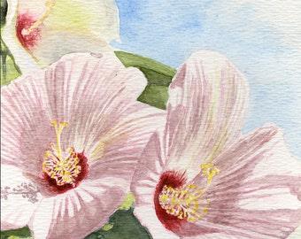 Hibiscus, flower painting, wall art ,5x7 original watercolor painting, floral painting  earthspalette