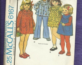 Vintage 1978 McCalls 6167 Little Girls Round Yoke Dress Jumper or Top with Peter Pan Collar  Size 2